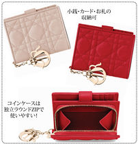 Christian Dior LADY DIOR Lambskin Plain Folding Wallets