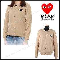 COMME des GARCONS Heart Casual Style Wool Long Sleeves Plain Medium Cardigans
