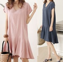 Linen V-Neck Plain Short Sleeves Dresses