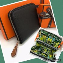 HERMES Silk In Plain Leather Folding Wallets