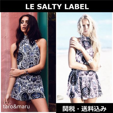 Short Dungarees Paisley Casual Style Halter Neck Dresses