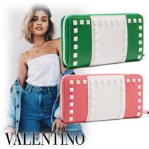 VALENTINO Studded Bi-color Leather Long Wallets