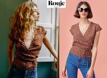 Rouje Dots Casual Style V-Neck Bi-color Short Sleeves