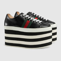 GUCCI Round Toe Lace-up Casual Style Platform & Wedge Sneakers
