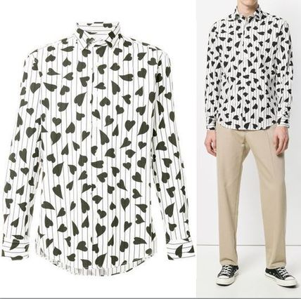 Button-down Heart Street Style Long Sleeves Cotton Shirts