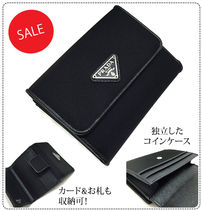 PRADA Unisex Nylon Plain Folding Wallets