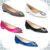 Manolo Blahnik Hangisi Plain With Jewels Pointed Toe Pumps & Mules
