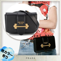 PRADA CAHIER Casual Style Leather Shoulder Bags