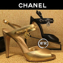 CHANEL Chain Plain Leather Elegant Style Heeled Sandals