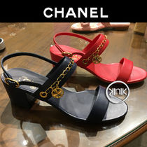 CHANEL Chain Plain Leather Block Heels Elegant Style Sandals