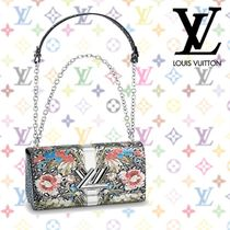 Louis Vuitton Flower Patterns 2WAY Leather Elegant Style Handbags