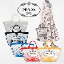 PRADA CANAPA Casual Style 2WAY Bi-color Crystal Clear Bags Totes