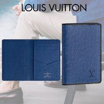 Louis Vuitton TAIGA Blended Fabrics Street Style Bi-color Plain Leather