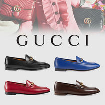 GUCCI Square Toe Moccasin Casual Style Plain Leather