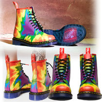 Dr Martens Lace-up Casual Style Unisex Street Style Tie-dye Leather
