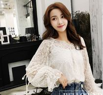Plain Lace Elegant Style Super-long Sleeves Shirts & Blouses