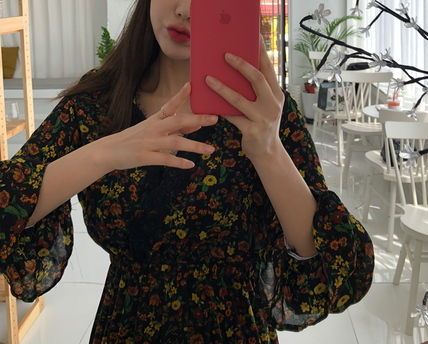 Dresses Flower Patterns Casual Style V-Neck Long Sleeves Long 7