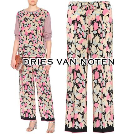 Flower Patterns Casual Style Silk Long Pants