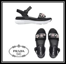 PRADA Open Toe Rubber Sole Casual Style Plain Leather With Jewels