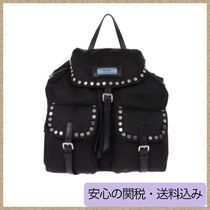 PRADA PRADA ETIQUETTE Nylon Studded Plain Backpacks
