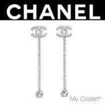 CHANEL Costume Jewelry Blended Fabrics Chain Silver With Jewels