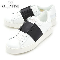 VALENTINO Round Toe Casual Style Plain Leather Low-Top Sneakers