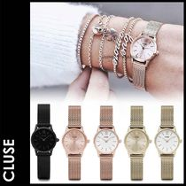 CLUSE Leather Round Quartz Watches Elegant Style Analog Watches