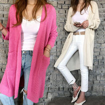 Casual Style Long Sleeves Plain Long Oversized Cardigans