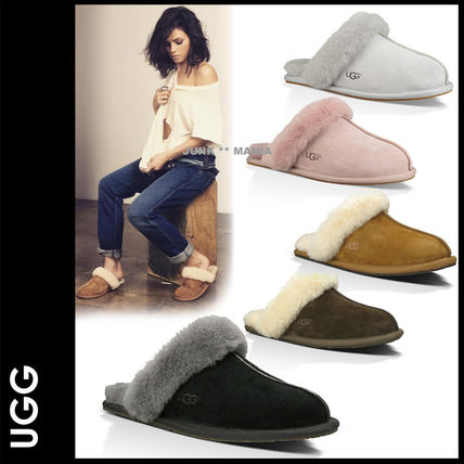 Plain Toe Casual Style Sheepskin Plain Slippers