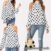 Dots Long Sleeves Long Party Style Tanks & Camisoles
