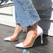 Casual Style Plain Pin Heels PVC Clothing