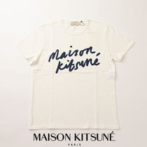 MAISON KITSUNE Crew Neck Pullovers Unisex Cotton Short Sleeves Polos