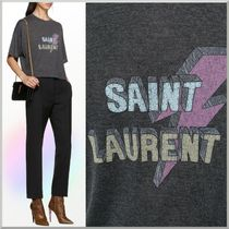 Saint Laurent Crew Neck Short Casual Style Short Sleeves Cropped