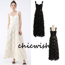 Chicwish Blended Fabrics Tassel Plain Long Party Style Slip Dresses