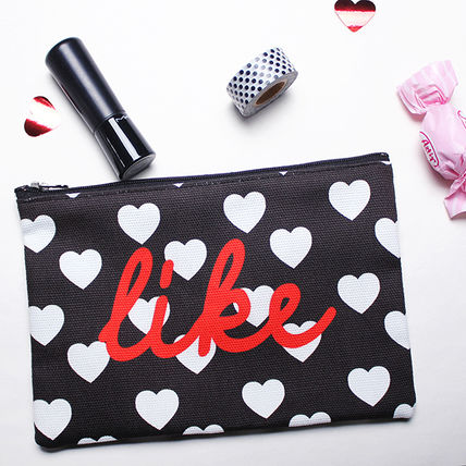 Heart Canvas Pouches & Cosmetic Bags