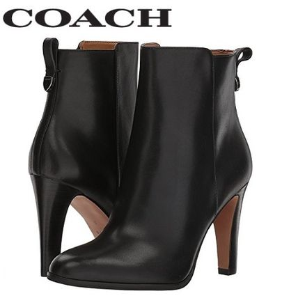 Plain Leather Pin Heels Office Style Ankle & Booties Boots