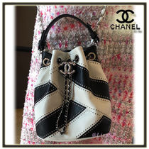 CHANEL Studded 2WAY Bi-color Chain Leather Elegant Style