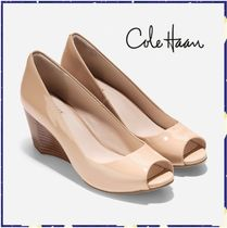 Cole Haan Open Toe Plain Leather Peep Toe Pumps & Mules