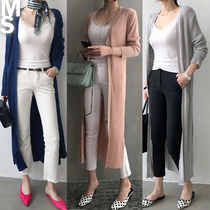NANING9 Long Sleeves Plain Long Midi Elegant Style Cardigans