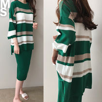 Stripes U-Neck Cropped Long Midi Elegant Style Dresses