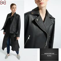 Weekend Max Mara Short Casual Style Plain Leather Biker Jackets