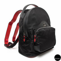 Christian Louboutin Unisex Nylon Studded Street Style A4 Bi-color Backpacks