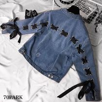 Casual Style Denim Street Style Plain Medium Jackets