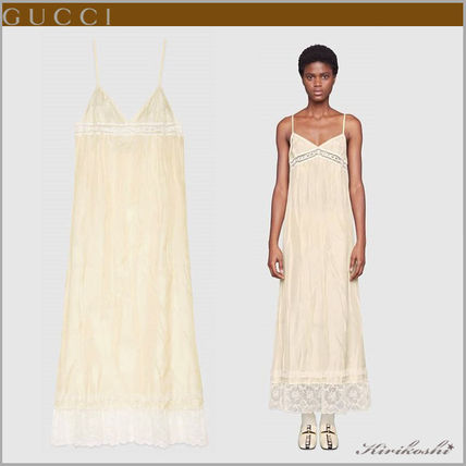 c2e81e732 ... GUCCI Dresses Casual Style Silk Sleeveless Plain Long Slip Dresses  Dresses ...