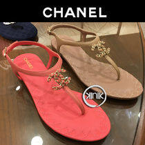 CHANEL Chain Plain Leather Elegant Style Sandals