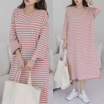 Stripes Casual Style Long Sleeves Cotton Long Dresses