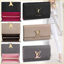 Louis Vuitton CAPUCINES Blended Fabrics Bi-color Plain Leather Long Wallets