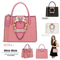 MiuMiu MADRAS 2WAY Chain Plain Leather With Jewels Elegant Style Totes