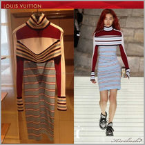Louis Vuitton Stripes Casual Style Tight Long Sleeves Medium Dresses