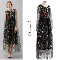 Chicwish Flower Patterns Maxi Long Sleeves Long Home Party Ideas Lace
